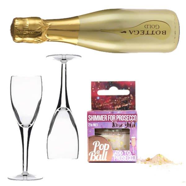 Prosecco & Raspberry Gift Set with Bottega Gold Prosecco & Raspberry Shimmer Powder