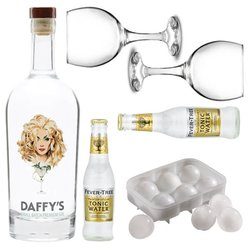 The 'Perfect Gin & Tonic' Gift Set with Daffy's Gin, Fever Tree Tonic, Balloon Glasses & Ice Ball Moulds