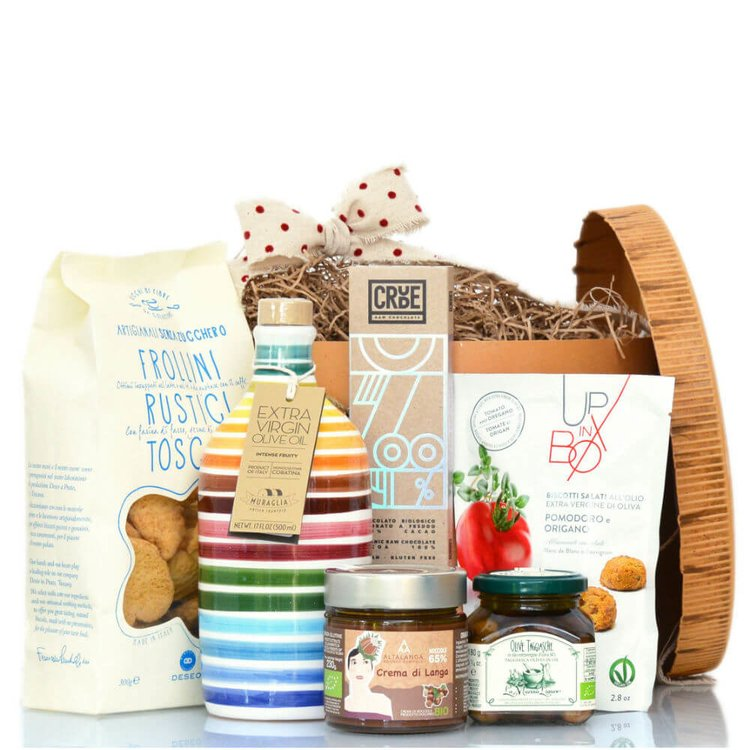 Italian Hamper in Vintage Hat Box Inc. Olive Oil, Biscotti, Hazelnut Spread & Chocolate (Sugar Free)