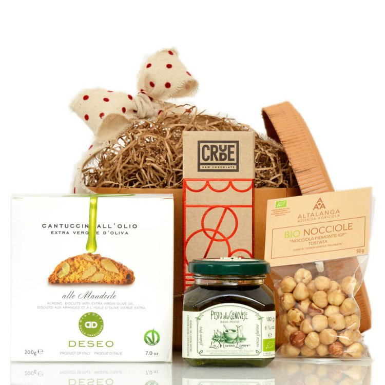 Limited Edition Vegan Italian Gift Hamper Inc. Cantucci, Chocolate, Nuts & Pesto in Vintage Hat Box