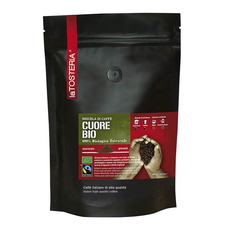 Organic Fairtrade Cuore Ground Coffee - 80% Arabica Blend 250g