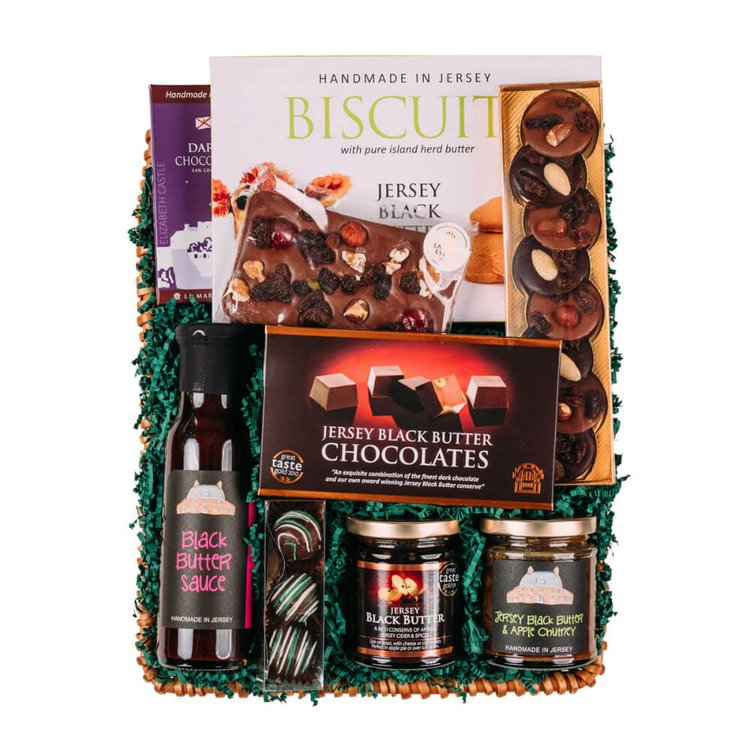 Jersey Black Butter Gift Hamper with Jar, Biscuits, Chutney & Chocolates by La Mare