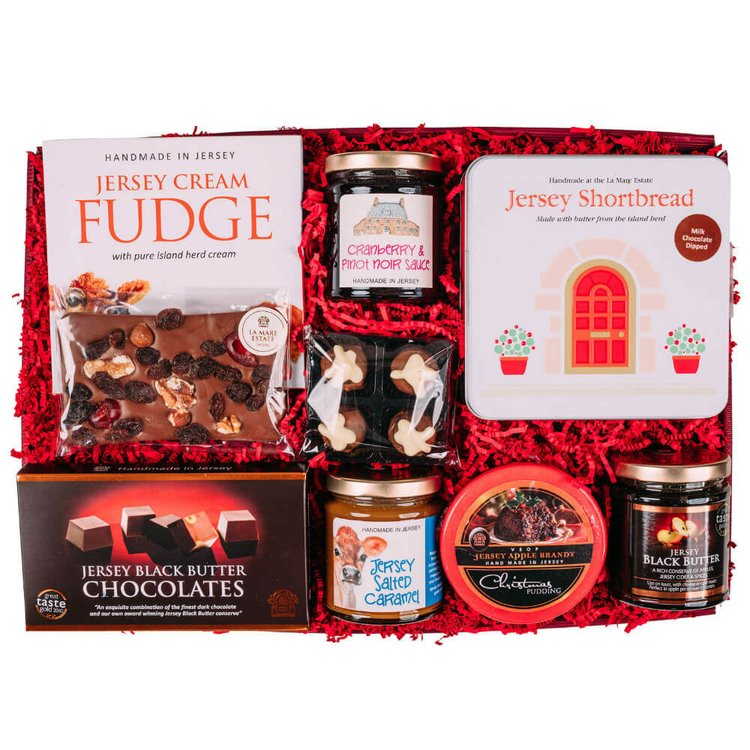 Jersey Festive Treats Gift Hamper Inc. Jersey Black Butter, Fudge, Biscuits, Truffles & More by La Mare