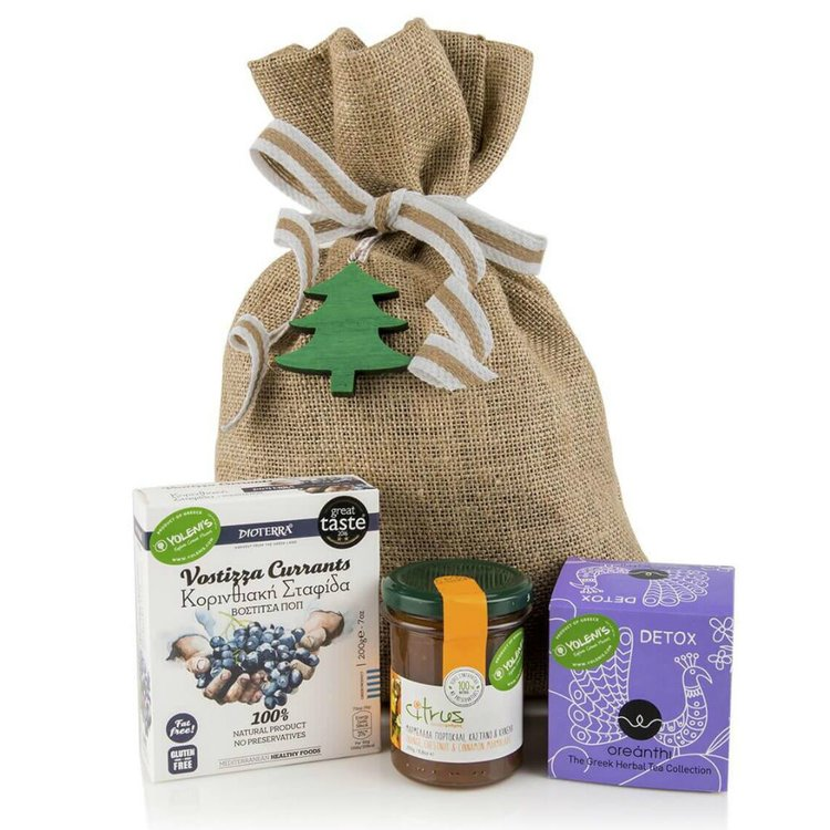 Greek 'Wise Man's' Gift Set with Herbal Tea, Orange Jam & Currants