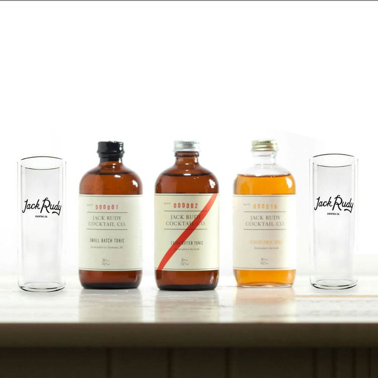 Small Batch Tonic Gift Set for Gin & Tonic by Jack Rudy Cocktail Co. with Glassware & Recipe Card