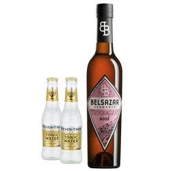 Belsazar Rosé & Tonic Gift Set - Rosé Vermouth Wormwood Aperitif 375ml & Fever-Tree Tonic
