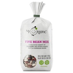 Organic Five Bean Mix 500g Inc. Cranberry, Black, Red Kidney & Cannellini Beans by Mr Organic