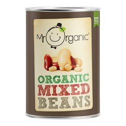 Organic Mixed Beans 400g Inc. Red Kidney, Cannellini & Butter Beans by Mr Organic