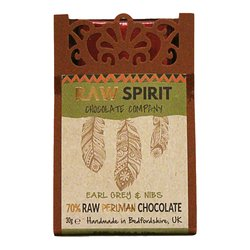 Earl Grey & Cacao Nibs 70% Raw Peruvian Chocolate Bar 30g