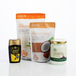 Organic Coconut Baking Gift Set with Oil, Sugar, Flour & Nectar