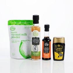 Organic Coconut Taster Gift Set with Vinegar, Nectar, Milk Powder & Aminos