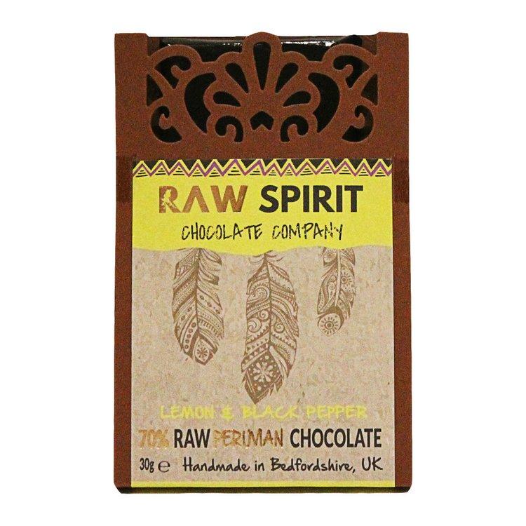 Lemon & Black Pepper 70% Raw Peruvian Chocolate Bar 30g
