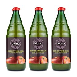 3 x Biona 750ml Organic Apple Cider Vinegar with 'the Mother'