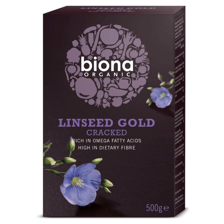 Organic Cracked Linseed (Flaxseed) Gold 500g by Biona