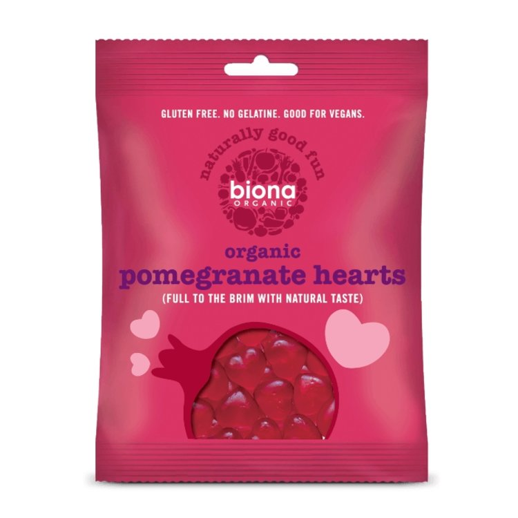 10 x Organic Pomegranate Heart Sweets 75g by Biona