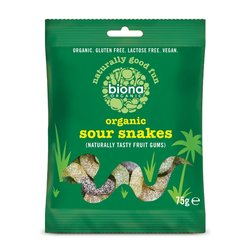 12 x Organic Sour Snakes Sweets 75g by Biona (Vegan)
