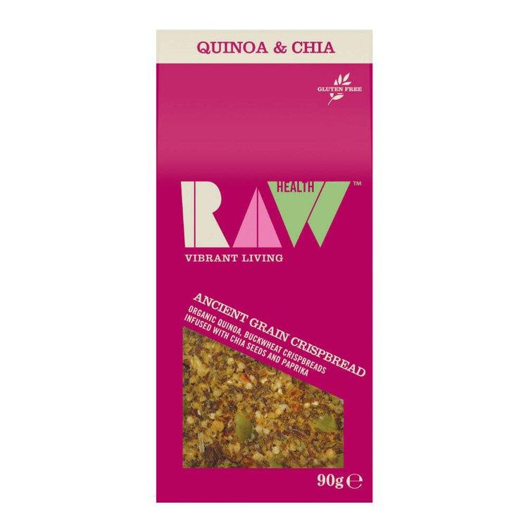 Organic Ancient Grain Crispbread with Quinoa, Buckwheat, Chia Seeds & Paprika 90g by Raw Health