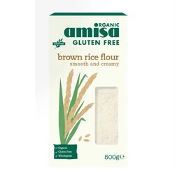 Organic Fine Brown Rice Flour 500g by Amisa (Gluten Free)