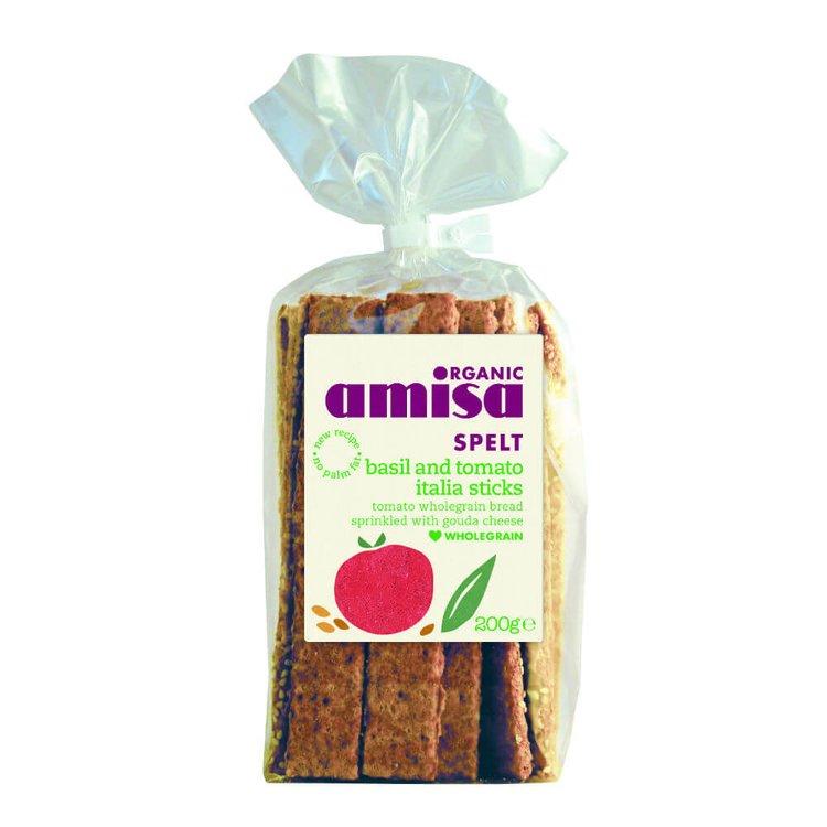 Organic Basil & Tomato Italia Sticks Savoury Snack 200g by Amisa