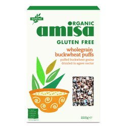 5 x Organic Wholegrain Buckwheat Puffs With Agave Nectar Cereal 225g by Amisa (Gluten Free)