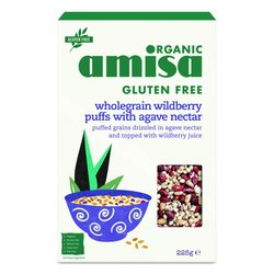 5 x Organic Wild Berry Wholegrain Puff Mix with Agave Nectar Cereal 225g by Amisa (Gluten Free)
