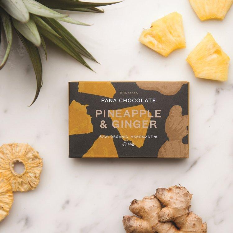 Organic Raw Pineapple & Ginger Handmade Chocolate Bar 45g
