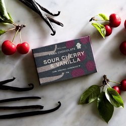Organic Raw Sour Cherry & Vanilla Handmade Chocolate Bar 45g