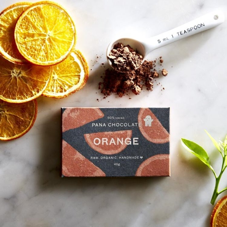 Organic Raw Tangerine & Orange Oil Handmade Chocolate Bar 45g