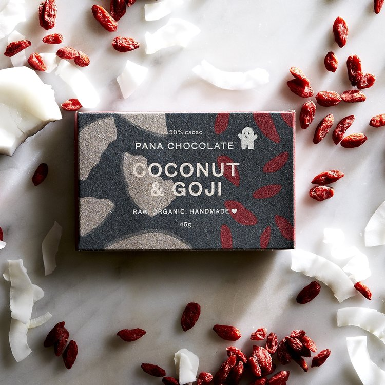 Organic Raw Coconut & Goji Berry Handmade Chocolate Bar 45g