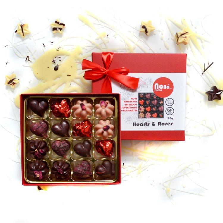 Heart & Rose Raw Superfood Chocolate Truffles Gift Box Functional Foods