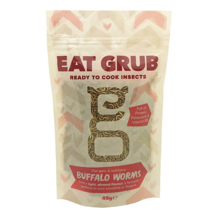 Edible Buffalo Worms 45g (High Protein, Edible Insect Snack)