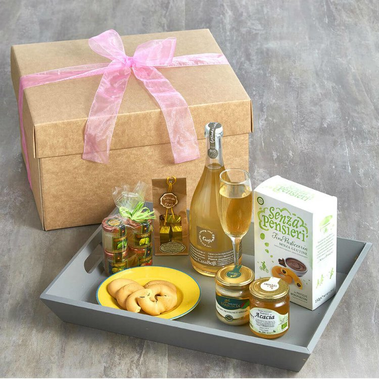 Italian Prosecco 'Breakfast in Bed' Gift Hamper with Marmalade, Almond Spread, Biscuits & Honey