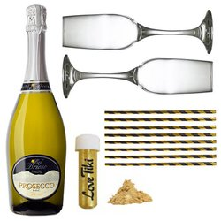 Prosecco Sparkle Gift Box with Champagne Flutes & Straws