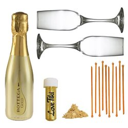 Valentine's Gold Prosecco Sparkle Gift Box with Champagne Flutes & Stirrers