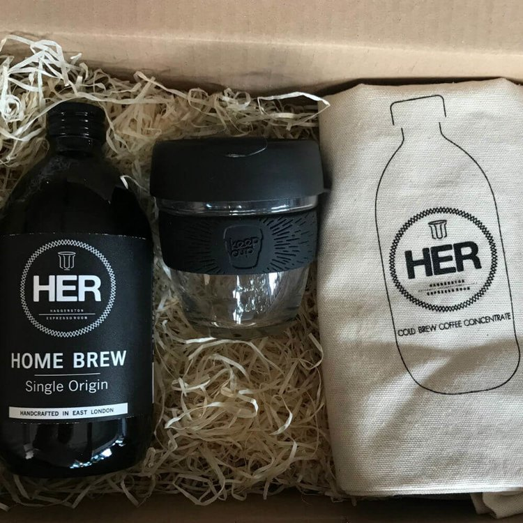 Cold Brew Coffee Gift Set with Home Brew Coffee, Reusable Glass Cup & Tote Bag