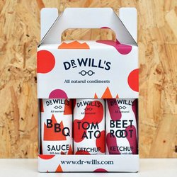 Dr Will's Sauces Gift Box with Tomato Ketchup, Beetroot Ketchup & BBQ Sauce