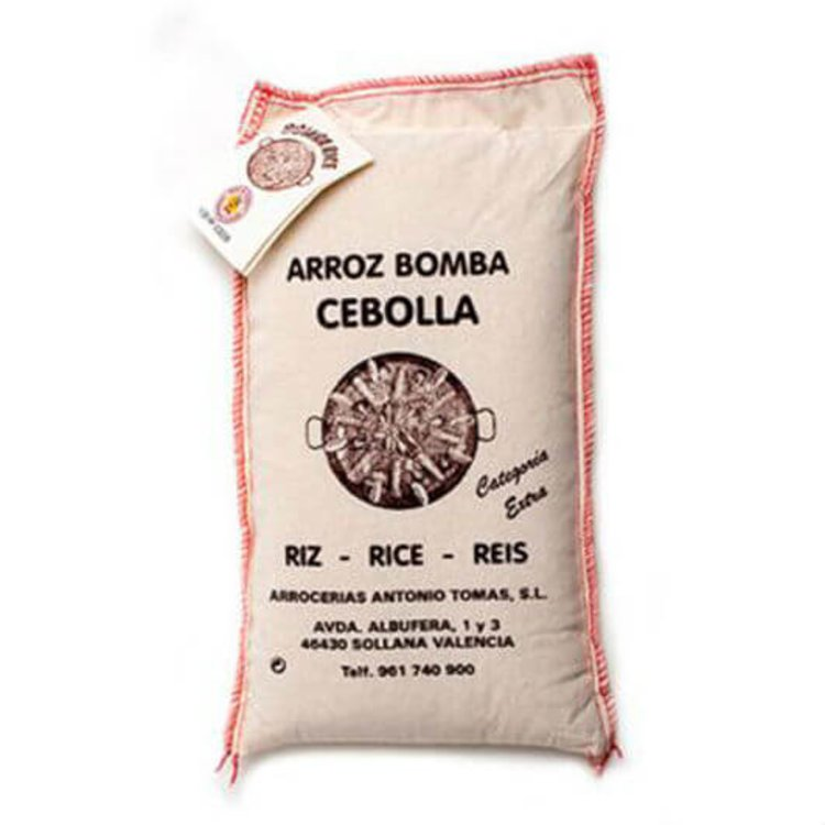 1kg Valencia Bomba Rice DO in Cotton Sack