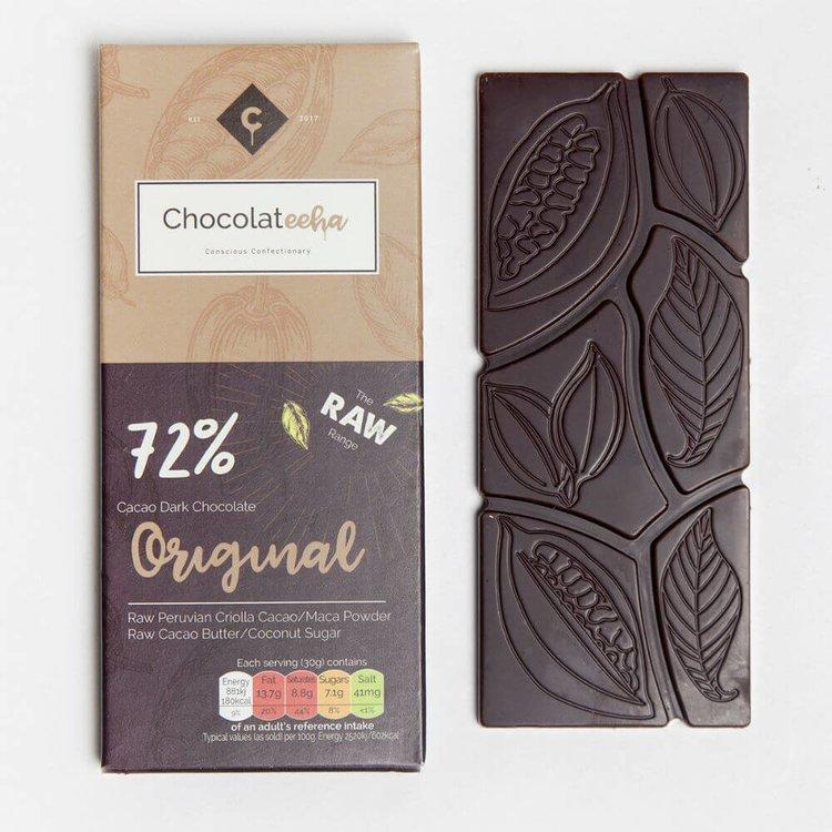 72% Raw Peruvian Dark Chocolate Bar with Maca 35g