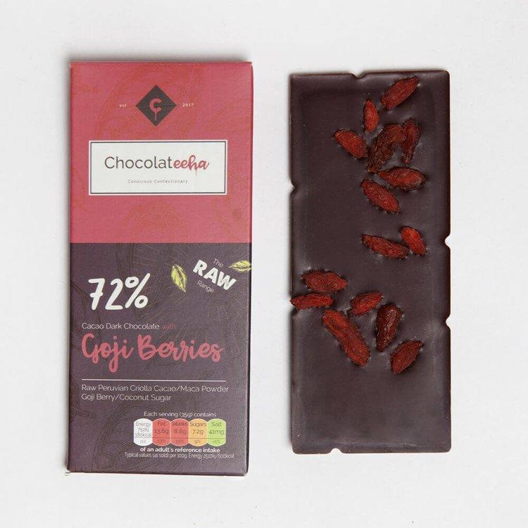 Goji Berry Peruvian 72% Dark Raw Chocolate Bar with Maca 35g