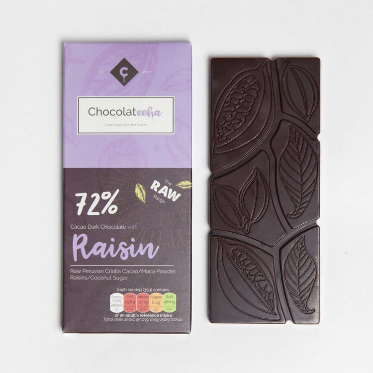 Raisin Peruvian 72% Dark Raw Chocolate Bar with Maca 35g
