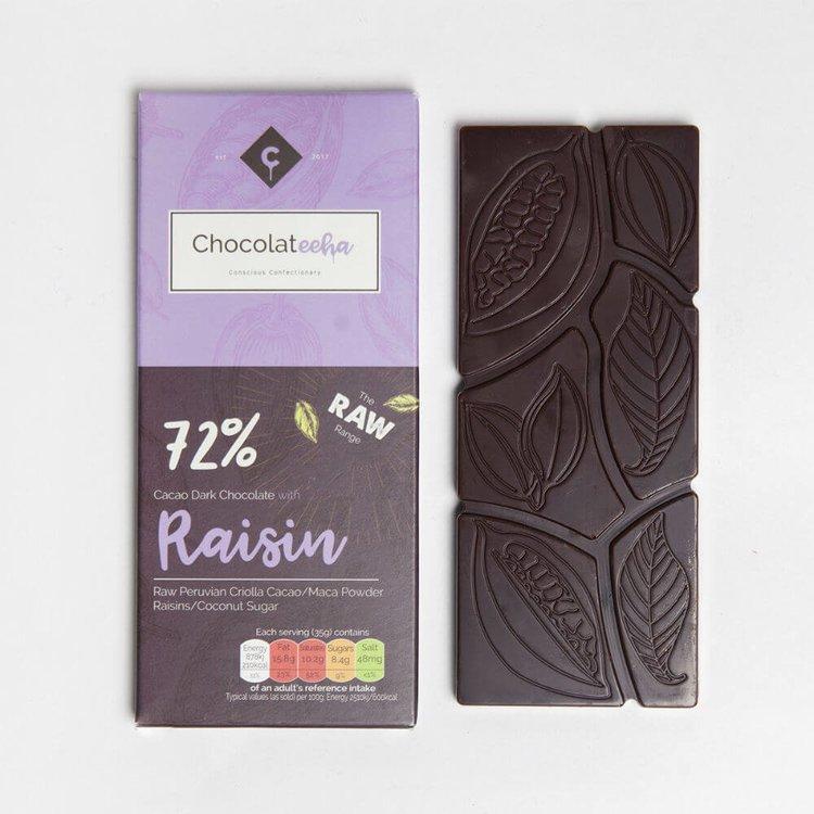 Raisin Peruvian 72% Dark Raw Chocolate Bar with Maca 35g