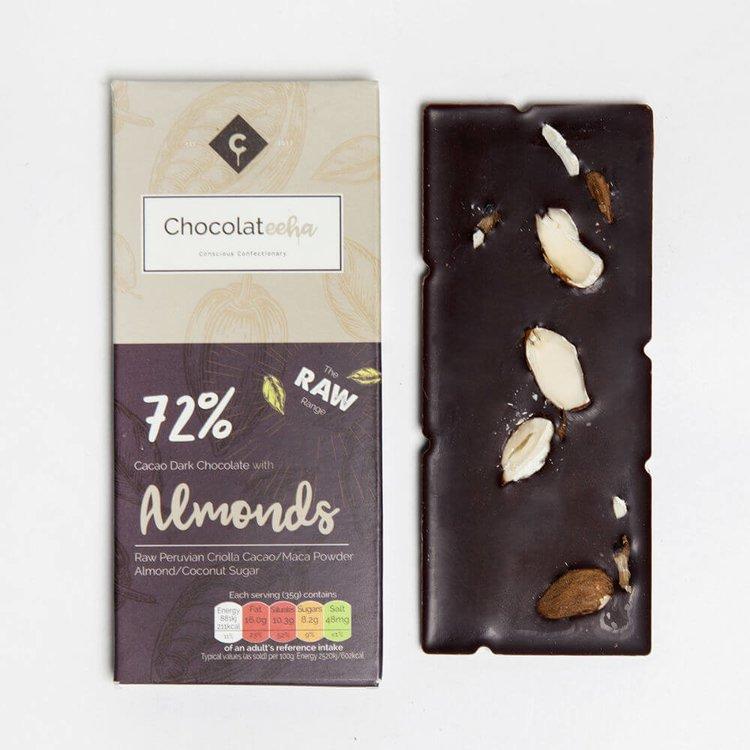 Almond Peruvian 72% Dark Raw Chocolate Bar with Maca 35g