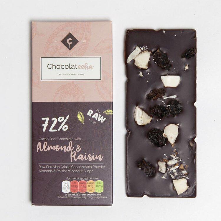 Almond & Raisin Peruvian 72% Dark Raw Chocolate Bar with Maca 35g