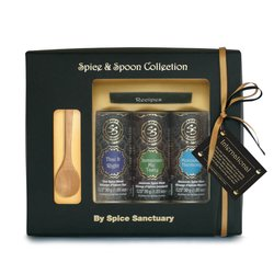 Organic 'International Cuisine' Moroccan, Thai & Jamaican Spice Gift Set with Wooden Spoon