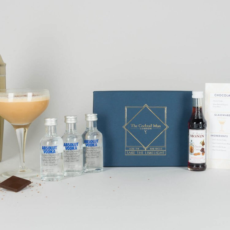 Chocolate Chip Martini Cocktail Gift Box with Vodka, Syrup & Chocolate Liqueur