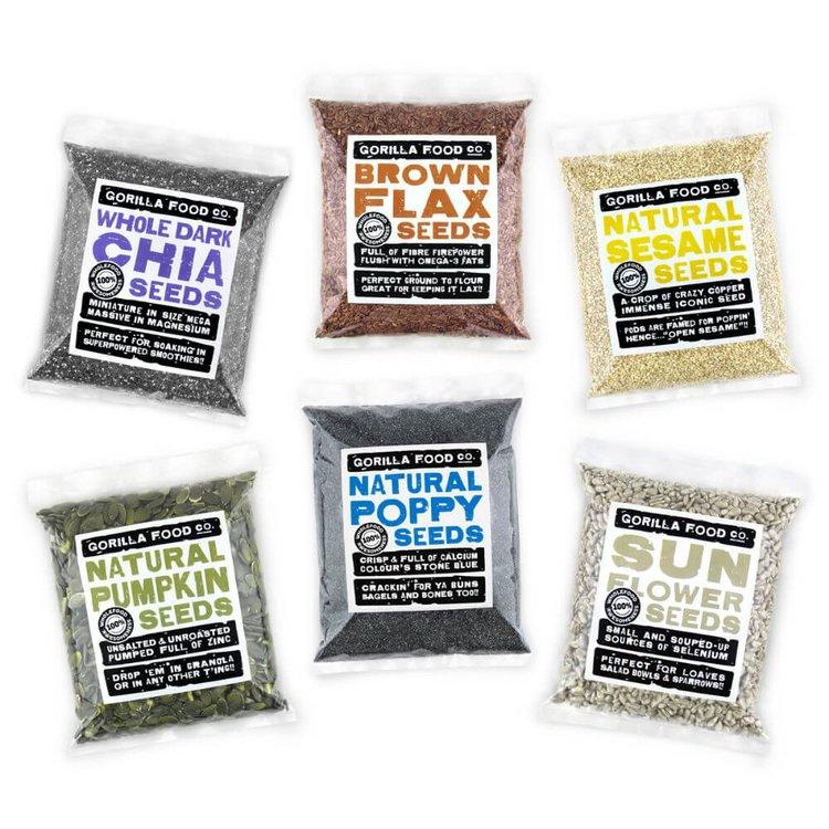 6 x 200g Super Seed Set Inc. Chia Seeds, Poppy Seeds & Pumpkin Seeds