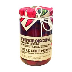 Calabrian Whole Hot Cherry Red Chilli Peppers in Oil 280g