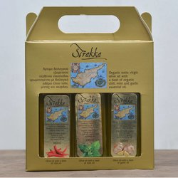 Organic Infused Extra Virgin Olive Oil Gift Set with Chilli, Mint & Garlic