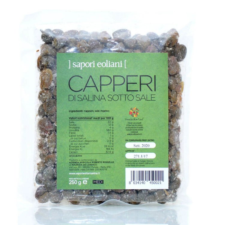 Slow Food Aeolian Capers in Salt 250g