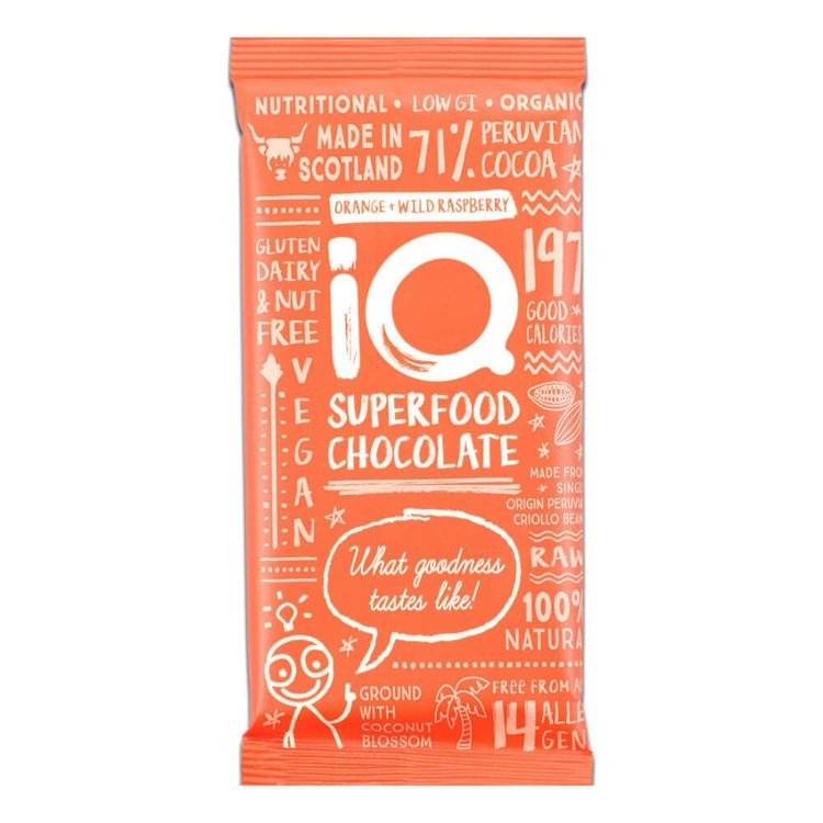 3 x Orange & Wild Raspberry Superfood Chocolate Bar 35g (Organic, Vegan)